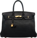"""Luxury Accessories:Bags, Hermès 35cm Black Clemence Leather Birkin Bag with Gold Hardware. D Square, 2000. Condition: 3. 14"""" Width x 10"""" He..."""