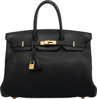Hermès 35cm Black Clemence Leather Birkin Bag with Gold Hardware D Square, 2000 Condition: 3<