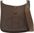 """Luxury Accessories:Bags, Hermès Etoupe Togo Leather Evelyne III PM with Palladium Hardware. P Square, 2012. Condition: 2. 11.5"""" Width x 12...."""