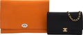 Luxury Accessories:Bags, Set of Two: Chanel Black Wallet on Chain & Fendi Orange Clutch. Condition: 3. See Extended Condition Report for Sizes.... (Total: 2 )