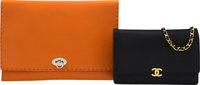 Set of Two: Chanel Black Wallet on Chain & Fendi Orange Clutch Condition: 3 See Extended Conditio