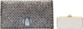 Luxury Accessories:Bags, Set of Two: Silver Judith Leiber Minaudiere & Bottega Veneta Woven Scarab Clutch. Condition: 3. See Extended Condition... (Total: 2 )