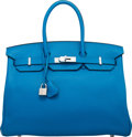 "Luxury Accessories:Bags, Hermès 35cm Blue Zanzibar Clemence Leather Birkin Bag with Palladium Hardware. A, 2017. Condition: 1. 14"" Width x ..."