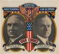 Political:Small Paper (1896-present), Harding & Coolidge: Colorful Jugate Window Decal.