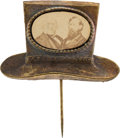 """Political:Ferrotypes / Photo Badges (pre-1896), Greeley & Brown: Rare """"In-the-Hat"""" Cardboard Jugate Stickpin.. ..."""