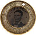 """Political:Ferrotypes / Photo Badges (pre-1896), Abraham Lincoln: Choice Back-to-Back Ferrotype in """"Waffle"""" Frame.. ..."""
