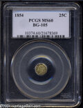 California Fractional Gold: , 1854 25C Liberty Octagonal 25 Cents, BG-105, R.3, MS60 PCGS....