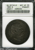 Coins of Hawaii: , 1883 S$1 Hawaii Dollar--Damaged--ANACS. AU Details, Net VF35....