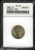 1893 5C Liberty Nickel--Struck Thru--MS63 ANACS. Greasy material clinging to the dies cause numerous bright planchet fla...