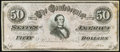 """Confederate Notes:1864 Issues, CT66/501 """"Havana Counterfeit"""" $50 1864 About Uncirculated.. ..."""