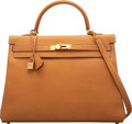 """Luxury Accessories:Bags, Hermès 35cm Vache Natural Leather Retourne Kelly Bag with Gold Hardware. J Square, 2006. Condition: 3. 14"""" Width x..."""