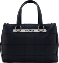 "Chanel Navy Square Stitched Caviar Leather Boston Bag Condition: 2 12.5"" Width x 8.5"" Height x 5"