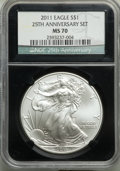 Five-Piece 25th Anniversary Silver American Eagle Set, Early Releases, NGC. The set includes the 2011 Eagle MS70, 2011-S...