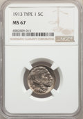 1913 5C Type One MS67 NGC. NGC Census: (324/26). PCGS Population: (690/29). CDN: $550 Whsle. Bid for NGC/PCGS MS67. Mint...