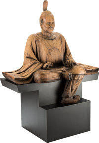 A Rare and Monumental Japanese Carved Wooden Figure of a Seated Shinto Priest, Kamakura Period 72 x 52 x 31 inches