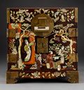 Decorative Accessories:Chinese, A Chinese Hardstone and Mother-of-Pearl-Inlaid Huanghuali Document Box. 13-5/8 x 13-1/4 x 10 inches (34.6 x 33.7 x 25.4 cm)...