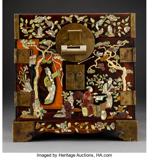 A Chinese Hardstone and Mother-of-Pearl-Inlaid Huanghuali Document Box   13-5/8 x 13-1/4 x 10 inches (34 6 x 33 7 x