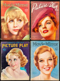 """Movie Posters:Miscellaneous, Picture Play & Other Lot (Street and Smith, 1933/1936).Fine/Very Fine. Magazines (4) (Multiple Pages, 8.5"""" X 11.5"""" &8.5"""" X... (Total: 4 Items)"""