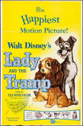 "Movie Posters:Animation, Lady and the Tramp (Buena Vista, R-1962). Folded, Very Fine-. OneSheet (27"" X 41""). Animation.. ..."