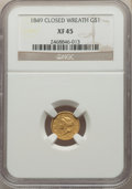 Gold Dollars, 1849 G$1 Closed Wreath XF45 NGC. NGC Census: (4/484). PCGS Population: (7/318). CDN: $260 Whsle. Bid for problem-free NGC/P...