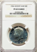 Proof Kennedy Half Dollars: , 1964 50C Accented Hair PR65 Cameo NGC. NGC Census: (193/1182). PCGS Population: (165/796). ...