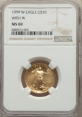 Modern Bullion Coins, 1999-W $10 Quarter-Ounce Gold Eagle, Unfinished Proof Dies MS69 NGC. NGC Census: (2004/67). PCGS Population: (1473/17). CDN...