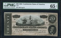 Confederate Notes:1864 Issues, T67 $20 1864 PF-24 Cr. 524 PMG Gem Uncirculated 65 EPQ.. ...