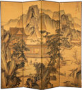 Furniture:Chinese, A Chinese Four-Panel Ink and Color on Silk Screen, Qing Dynasty . Marks: Bearing two seals. 63-3/8 x 67-3/4 inches (161.0 x ...
