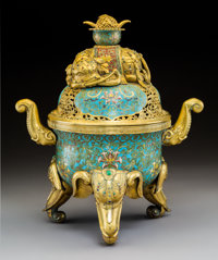 A Chinese Imperial Cloisonné Enamel and Cabochon-Mounted Gilt Bronze Elephant Censer