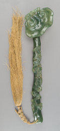 Carvings, A Chinese Carved Spinach Jade Ruyi Scepter, Qing Dynasty. 13 x 3-1/4 x 1-1/2 inches (33.0 x 8.3 x 3.8 cm) (scepter, excludin...