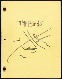 "The Birds by Evan Hunter (Universal, 1962). Very Fine+. Autographed Copied Final Draft Script (182 Pages, 8.5"" X 11..."