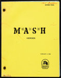 "Movie Posters:Comedy, MASH (CBS, 1982). Fine/Very Fine. Television Revised Final Script (38 Pages, 8.5"" X 11"") Season 10, Episode 18 -- ""Heroes,"" ..."