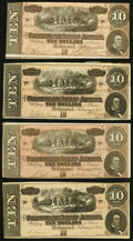 Confederate Notes:1864 Issues, T68 $10 1864 Four Examples Very Fine or Better.. ... (Total: 4 notes)
