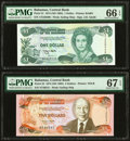 World Currency, Bahamas Central Bank 1; 5 Dollars 1974 (ND 1992); 1974 (ND 1995) Pick 51; 52 Two Examples PMG Gem Uncirculated 66 EPQ; Sup... (Total: 2 notes)