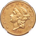 Liberty Double Eagles, 1871-CC $20 -- Improperly Cleaned -- NGC Details. AU. Variety 1-A....