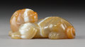 Carvings, A Chinese Carved Banded Agate Beast, Qing Dynasty. 1-3/8 x 2-7/8 x 1-3/4 inches (3.5 x 7.3 x 4.4 cm). ...
