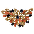 Estate Jewelry:Pendants and Lockets, Sapphire, Coral, Gold Pendant. ...