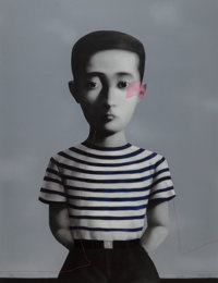 Zhang Xiaogang (Chinese, b. 1958) Boy, from Big Family, 2006 Lithograph in colors on Arch
