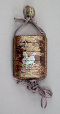 Carvings, A Japanese Mother-of-Pearl Inlay and Wood Inro. 2-7/8 x 2-3/8 x 7/8 inches (7.3 x 6.0 x 2.2 cm). ...