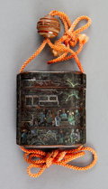 Carvings, A Japanese Lacquered Wood and Mother-of-Pearl Inlay Inro. 2-3/8 x 2-1/8 x 3/4 inches (5.9 x 5.4 x 1.9 cm). ...