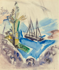 John Marin (American, 1870-1953) Trees, Rocks, and Schooner (Within the Three-Mile Limit), 1921 Watercolor and ink on...