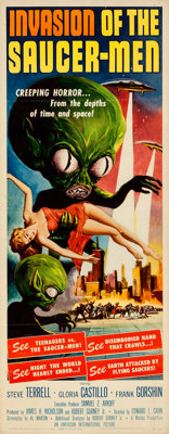 "Invasion of the Saucer-Men (American International, 1957). Folded, Fine/Very Fine. Insert (14"" X 36""). Albert..."
