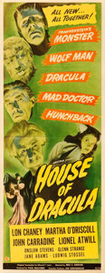"Movie Posters:Horror, House of Dracula (Universal, 1945). Fine/Very Fine on Paper. Insert (14"" X 36"").. ..."