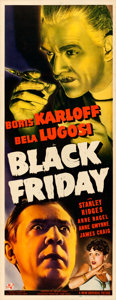 "Movie Posters:Horror, Black Friday (Universal, 1940). Very Fine- on Paper. Insert (14"" X 36"").. ..."