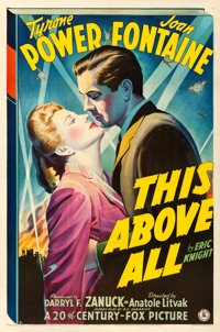 "This Above All (20th Century Fox, 1942). Fine/Very Fine on Linen. One Sheet (27.25"" X 41.5"") Style A"