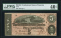 Confederate Notes:1864 Issues, T69 $5 1864 PF-10 Cr. 564 PMG Extremely Fine 40 EPQ.. ...