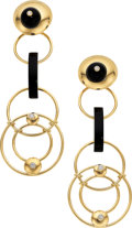 Estate Jewelry:Earrings, Diamond, Black Onyx, Gold Earrings, Aletto Brothers. ...