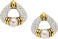 Estate Jewelry:Earrings, Diamond, Cultured Pearl, Platinum, Gold Earrings, Jacques Timey for Harry Winston . ...