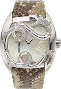 Estate Jewelry:Watches, Boucheron Lady's Diamond, Emerald, Stainless Steel Watch. ...