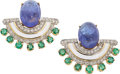 Estate Jewelry:Earrings, Tanzanite, Diamond, Emerald, Enamel, Gold Earrings. ...